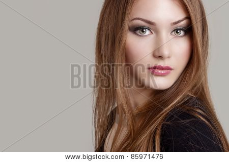 portrait of a beautiful charming attractive gentle girl with expressive eyes