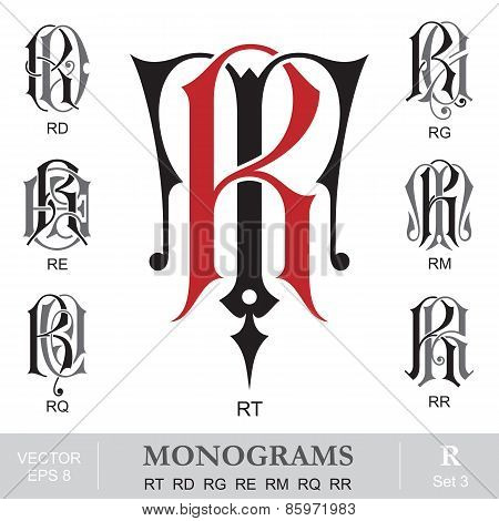 Vintage Monograms RT RD RG RE RM RQ RR