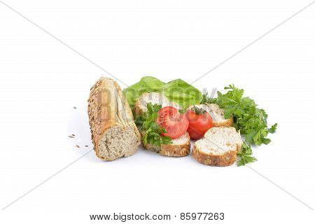 Breakfast With Fresh Baked Bread, Traditonal Salami, Cheese And Vegetables