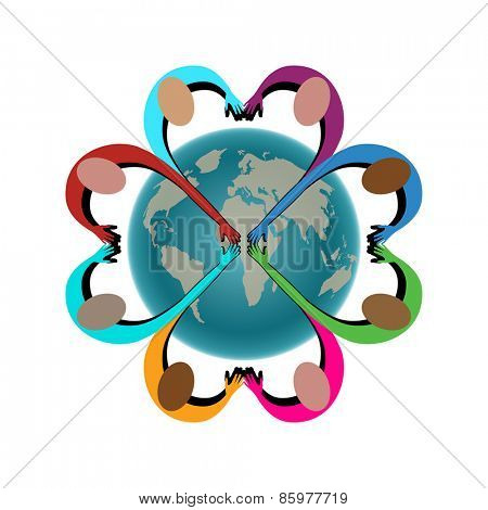 People arms in shape of heart joining together world behind - layered