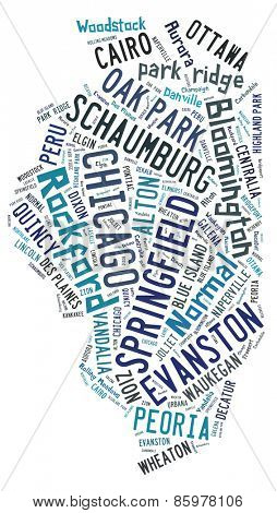 Word cloud in the shape of Illinois showing the cities in the state of Illinois