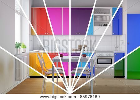 Small kitchen with kitchenette in bright rainbow colors to choose from (3D Rendering)