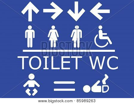 Vector Set Of Toilet Signs In White With Blue Background