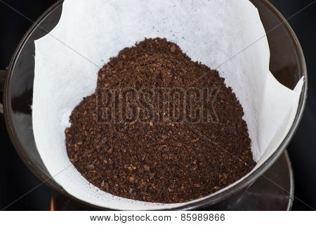 Freshly Ground Coffee In A Filter