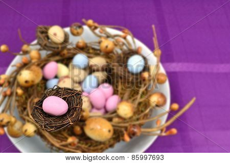 Pink Easter Egg On Small Nest