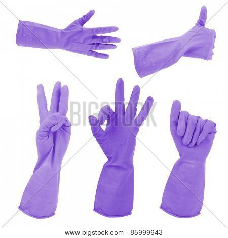 Purple gloves gestures, isolated on white