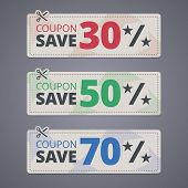 Scissors cutting coupons with discounts. Vector illustration. poster