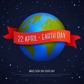 Vector illustration of earth globe with red ribbon and text Earth Day 22 April. Ecology concept. Earth day card template. Dark space with shining stars. poster