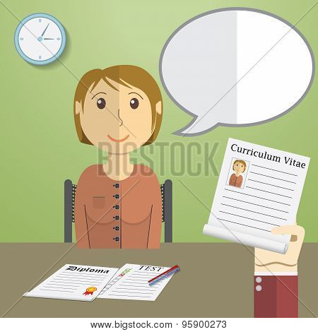 Flat Design Vector Illustration Concept For Job Interview, Hand Holding Cv Profile Talking To Candid