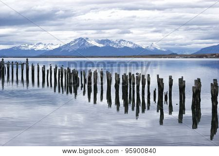 Lake with old pier in Patagonia