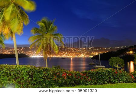 Charlotte Amalie at night St. Thomas Island, USA