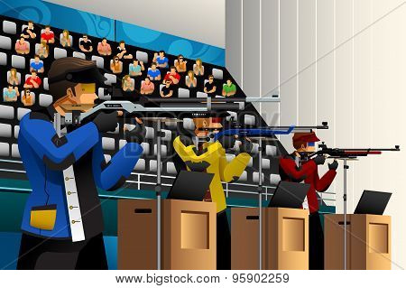 A vector illustration of people shooting with rifle at a target in the competition for sport competition series poster