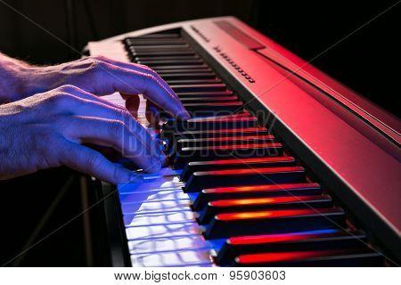 close-up of piano keyboards, close-up.
