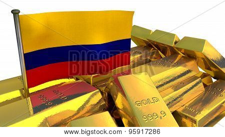 Colombian economy concept with gold bullion