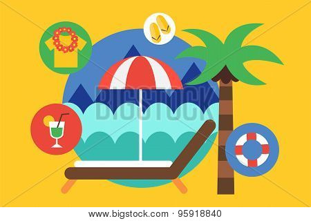 Travel by the plane vector illustrat. Summer, Air and holiday symbols. Stock design elements.