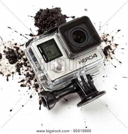 MOSCOW, RUSSIA- june 29, 2015: GoPro Hero 4 Black Edition on muddy background. Manufactured by GoPro Inc.pro,
