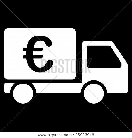 Collector car from BiColor Euro Banking Icon Set. Glyph style: flat, white symbol, rounded angles, black background. poster