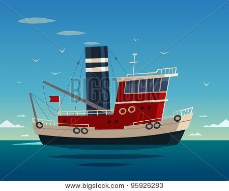 Tugboat at sea. Vector illustration.