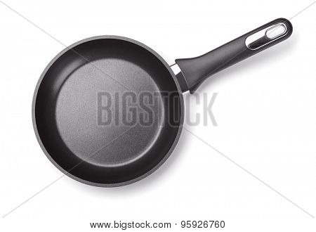 Top view of new empty frying pan isolated on white