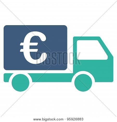 Collector car from BiColor Euro Banking Icon Set. Glyph style: flat bicolor, cobalt and cyan symbol, rounded angles, white background. poster