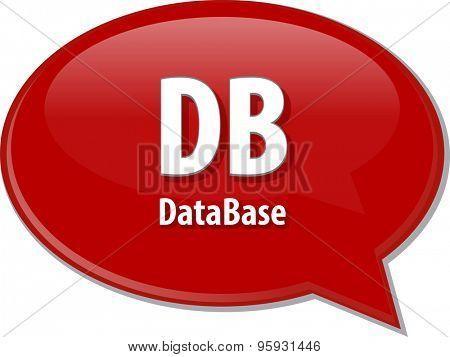 DB acronym definition speech bubble illustration Speech bubble illustration of information technology acronym abbreviation term definition DB Database