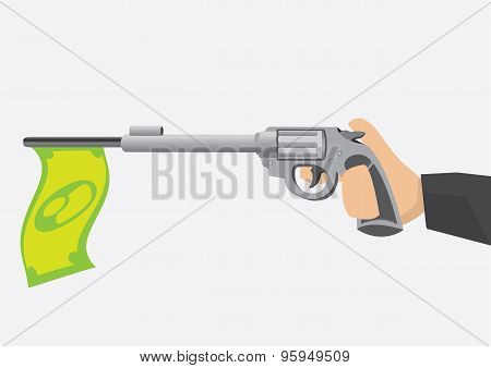 Money Flag On Toy Gun Barrel Vector Illustration