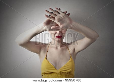 Disgusted woman's gesture