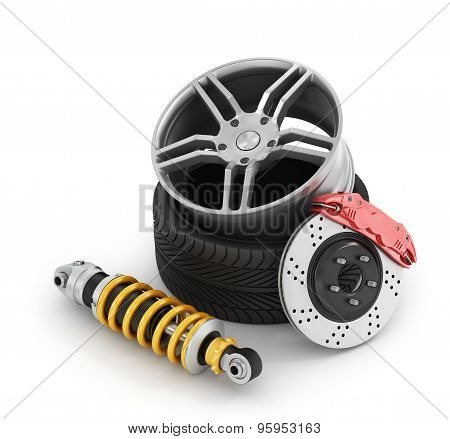 Car Brakes With Absorbers, Tires And Rims On The White Background.