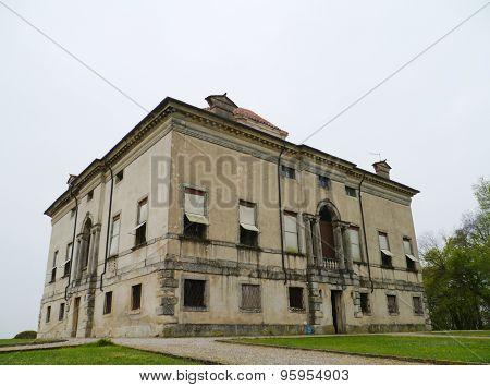 The back of La Rocca Pisana in Lonigo in Italy