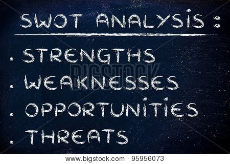 list of the elements of the SWOT analysis: Strenghts Weaknesses Opportunities Threats poster