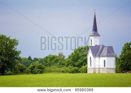 Abandoned Church In The Beautiful Landscape