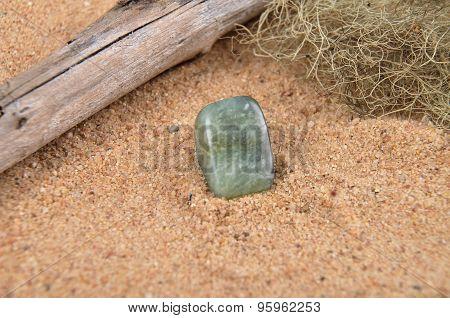 Moss Agate On Beach