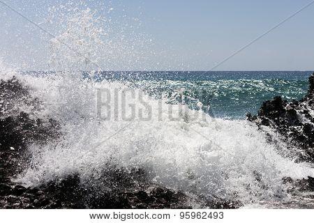 Waves of the sea. Falasarna beach, Crete, Greege