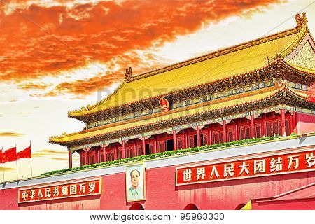 "Gate of Heavenly Peace- entrance to the Palace Museum in Beijing.Inscription-""Long live the People's Republic of China! Long live the solidarity of the peoples of the world!"".Tiananmen Square is a third large city square in the centre of Be poster"