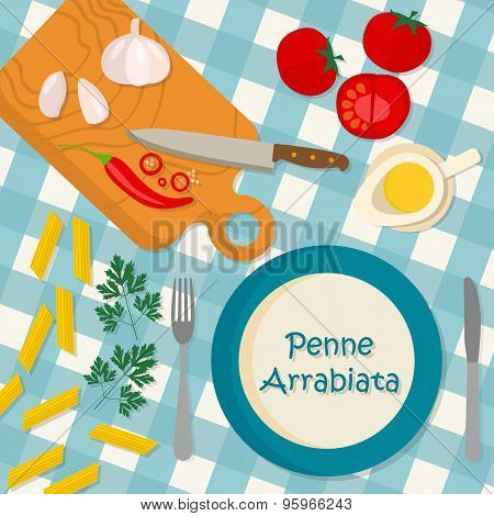 Flat design square banner of Italian traditional cuisine