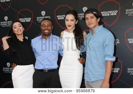 LOS ANGELES - JUL 14:  Aimee Garcia, Justin Hires, Jessika Van, Jon Foo at the Warner Bros. Studio Tour Hollywood Event at the Warner Brothers Studio on July 14, 2015 in Burbank, CA