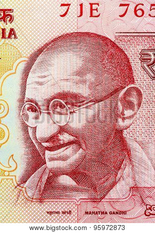 Closeup of Mahatma Gandhi on 20 Rupees Indian currency note