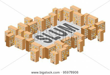 Slum District. Building In  Form Of Letters. Ghetto Poor District On  Outskirts Of City. Vector Illu