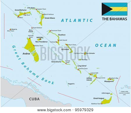 Bahamas Map With Flag