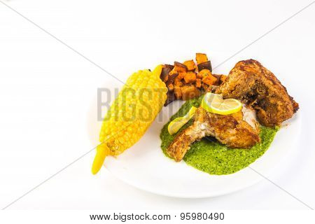 Fried Grouper With Corn