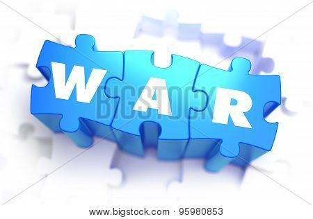 War - White Word on Blue Puzzles on White Background. 3D Illustration. poster