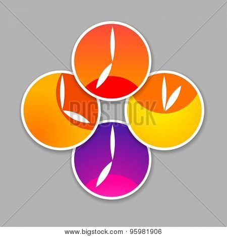 Time - a symbol clock. The clock shows the time and position of the sun: and the dawn of the morning, afternoon, evening and sunset. Simple template for design.