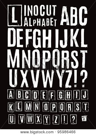 Lino cut alphabet