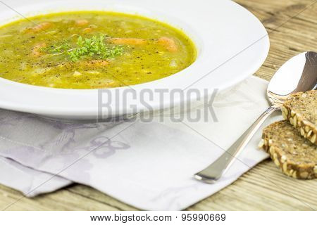 Fresh Homemade Vegetable Soup With Wieners