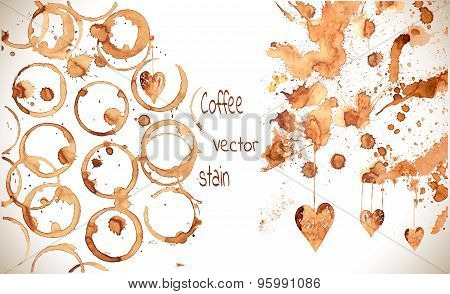 Coffee cup marks. Vector coffee set.
