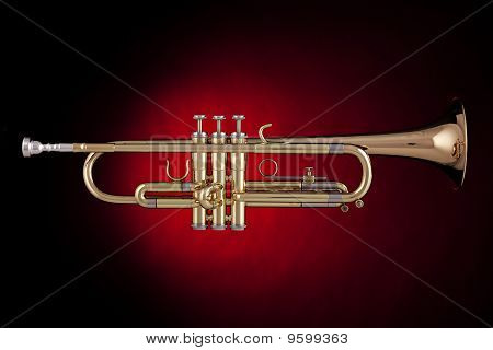 Trumpet Isolated In Red Spotlight
