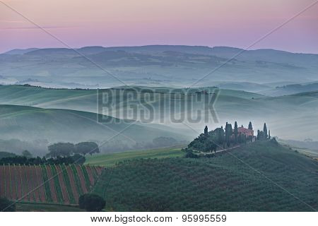 Pink Belvedere Sunrise In Tuscany