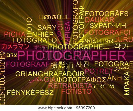 Background concept wordcloud multilanguage international many language illustration of photographer glowing light