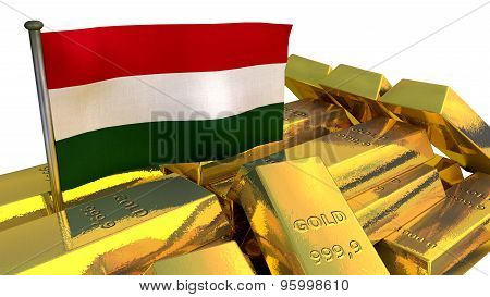 Hungarian economy concept with gold bullion