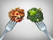 Diet struggle and decision concept and nutrition choices dilemma between healthy good fresh fruit and vegetables or greasy cholesterol rich fast food with two dinner forks competing to decide what to eat. poster